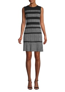 MICHAEL Michael Kors Houndstooth Panel A-Line Dress