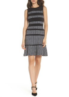 MICHAEL Michael Kors Houndstooth Stripe Dress