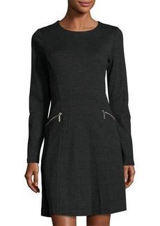 MICHAEL Michael Kors Houndstooth Zip-Pocket A-Line Dress