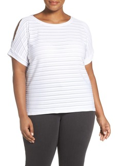 MICHAEL Michael Kors Jacquard Stripe Slit Sleeve Top (Plus Size)
