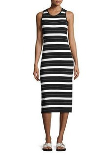 MICHAEL Michael Kors James Striped Sleeveless Midi Dress