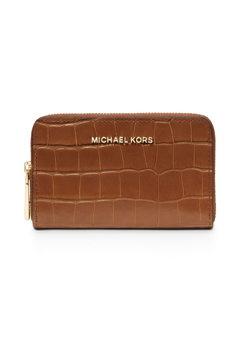 MICHAEL Michael Kors Jet Set Small Croc-Embossed Card Case
