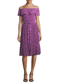 MICHAEL Michael Kors Jewel Off-the-Shoulder Pleated Floral-Print Dress