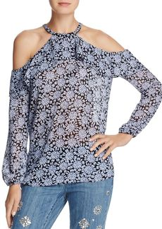 MICHAEL Michael Kors Jewel-Print Ruffled Cold-Shoulder Top