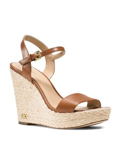MICHAEL MICHAEL KORS Jill Espadrille Wedge Leather Sandals