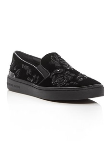 MICHAEL Michael Kors Kyle Embellished Velvet Slip On Sneakers