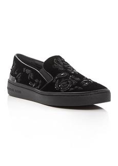 MICHAEL Michael Kors Kyle Embellished Velvet Slip-On Sneakers