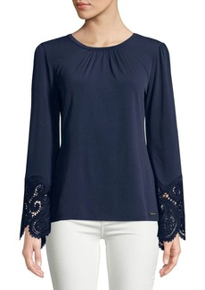 MICHAEL Michael Kors Lace-Embroidered Cuff Top
