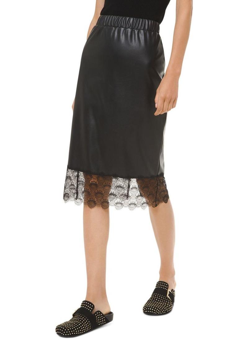 MICHAEL Michael Kors Lace-Hem Faux-Leather Midi Skirt
