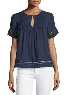 MICHAEL Michael Kors Lace-Insert Pintucked Top