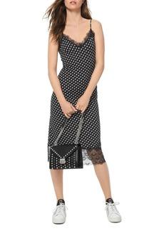 MICHAEL Michael Kors Lace-Trimmed Dot-Print Midi Dress