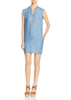 MICHAEL Michael Kors Lace-Up Chambray Shift Dress
