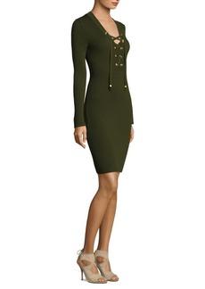 MICHAEL MICHAEL KORS Lace-Up Rib Bodycon Dress