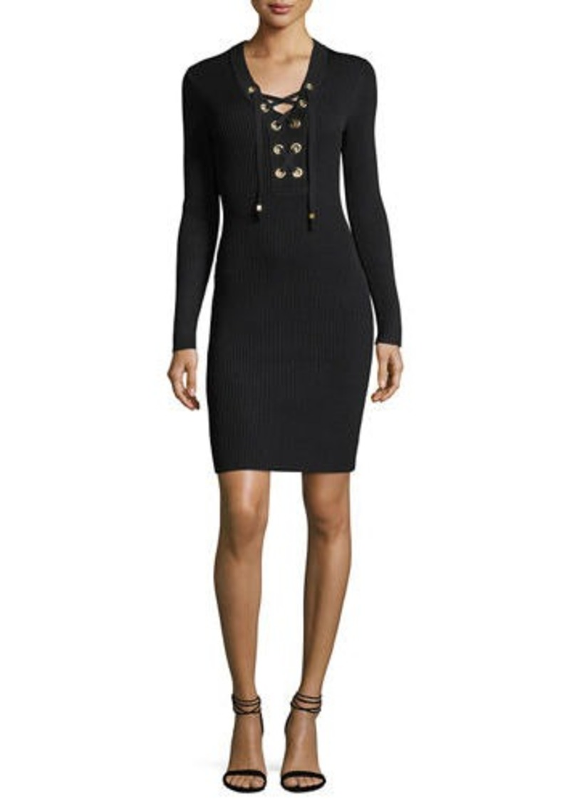 01eac867ca9 MICHAEL Michael Kors Lace-Up Ribbed Sweater Dress