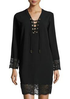 MICHAEL Michael Kors Lace-Up Scallop-Trim Dress