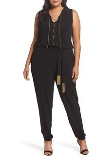 MICHAEL Michael Kors Lace-Up Sleeveless Jumpsuit (Plus Size)