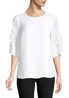 MICHAEL Michael Kors Lace-Up Three-Quarter Sleeve Top
