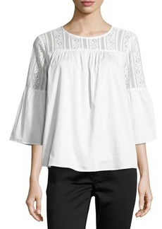 MICHAEL Michael Kors Lace-Yoke Bell-Sleeve Blouse