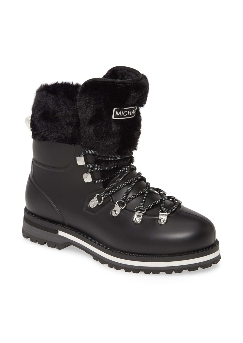MICHAEL Michael Kors Lanis Faux Fur Trim Waterproof Lace-Up Boot (Women)