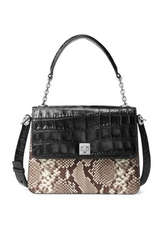 MICHAEL MICHAEL KORS Large Python-Embossed Leather Crossbody Satchel