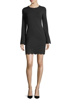 MICHAEL Michael Kors Laser-Cut Trim Bell-Sleeve Dress