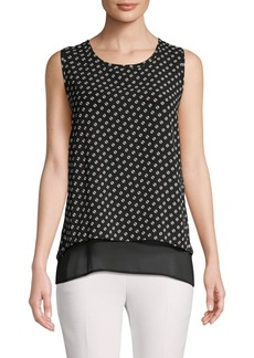 MICHAEL Michael Kors Layered Envelope-Back Sleeveless Blouse