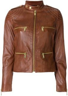 Michael Michael Kors leather moto jacket - Brown