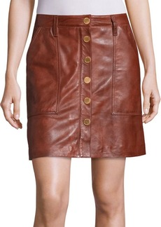 MICHAEL MICHAEL KORS Leather Snap-Front Skirt