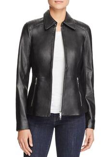 MICHAEL Michael Kors Leather Zip Front Jacket