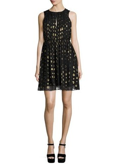 MICHAEL Michael Kors Leones Sleeveless Spot Jacquard Dress