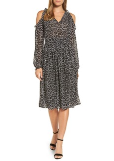 MICHAEL Michael Kors Leopard Cold Shoulder Midi Dress