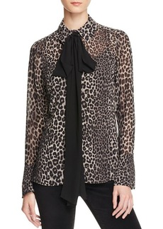 MICHAEL Michael Kors Leopard Print Bow Tie Blouse - 100% Bloomingdale's Exclusive