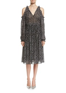 MICHAEL Michael Kors Leopard-Print Cold-Shoulder Chiffon Dress