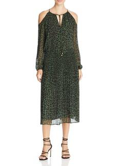 MICHAEL Michael Kors Leopard Print Cold Shoulder Dress