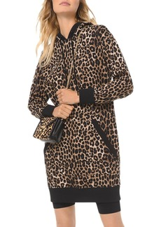 MICHAEL Michael Kors Leopard-Print Cotton-Terry Hoodie Dress