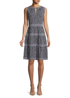 MICHAEL Michael Kors Leopard Print Fit-and-Flare Dress