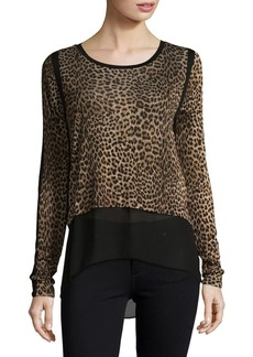 MICHAEL Michael Kors Leopard Print Long-Sleeve Top
