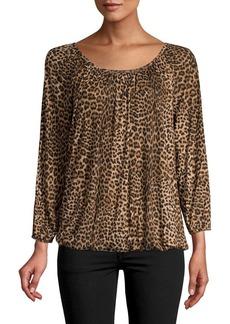 MICHAEL Michael Kors Leopard Print Long-Sleeve Top