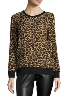 MICHAEL Michael Kors Leopard-Print Pullover Sweater
