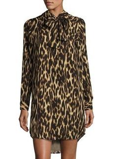 MICHAEL Michael Kors Leopard-Print Tie-Neck Dress