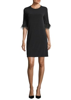 MICHAEL Michael Kors Lightweight Shift Dress w/ Ostrich Feather Cuffs