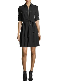 MICHAEL Michael Kors Lock-Zip Crepe Shirtdress