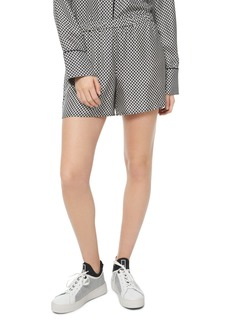 MICHAEL Michael Kors Logo Checkerboard Pajama-Style Silk Mini Shorts