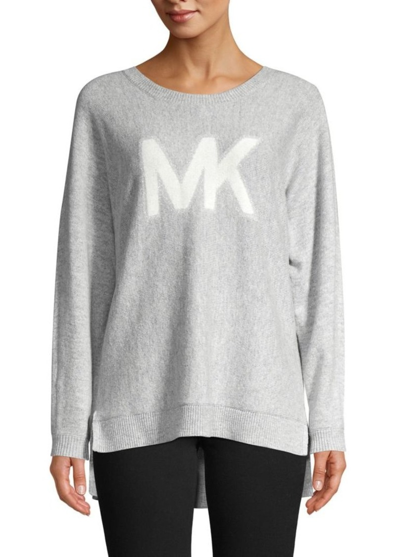 MICHAEL Michael Kors Logo Graphic Heathered Cotton-Blend Sweater
