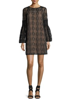 MICHAEL Michael Kors Long Bell-Sleeve Lace Shift Dress