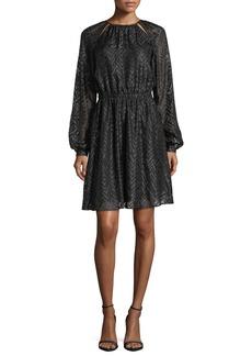 MICHAEL Michael Kors Long Bishop-Sleeve A-Line Jacquard Dress