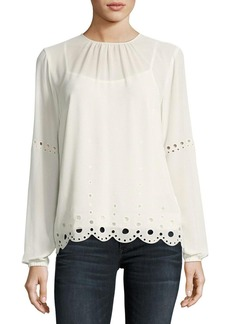 MICHAEL Michael Kors Long Bishop-Sleeve Engineered Eyelet Top