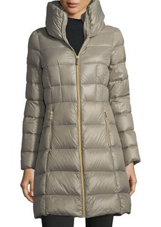 MICHAEL Michael Kors Long Channel-Quilted Puffer Jacket