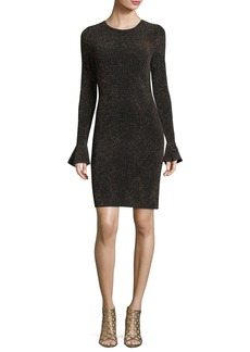 MICHAEL Michael Kors Long Flounce-Sleeve Glittered Bodycon Dress