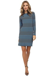 MICHAEL Michael Kors Long Sleeve Boatneck Aqua Stripe Dress